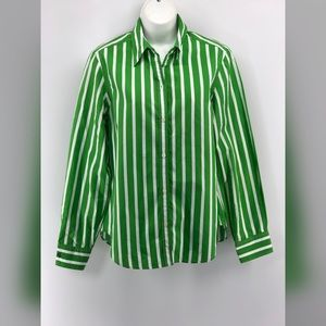 Ralph Lauren Green and White Stripe Blouse size M